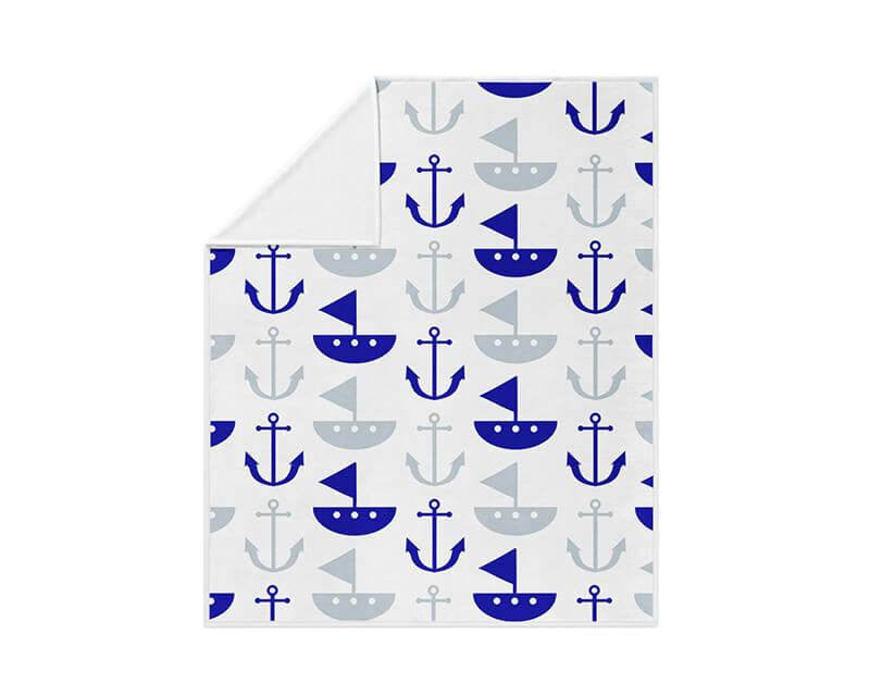 Boat and Anchor Pattern Fleece Blanket - WallLillies