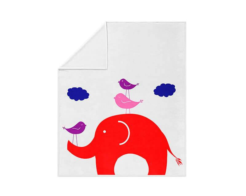 Elephant and Little Birdies Fleece Blanket - WallLillies