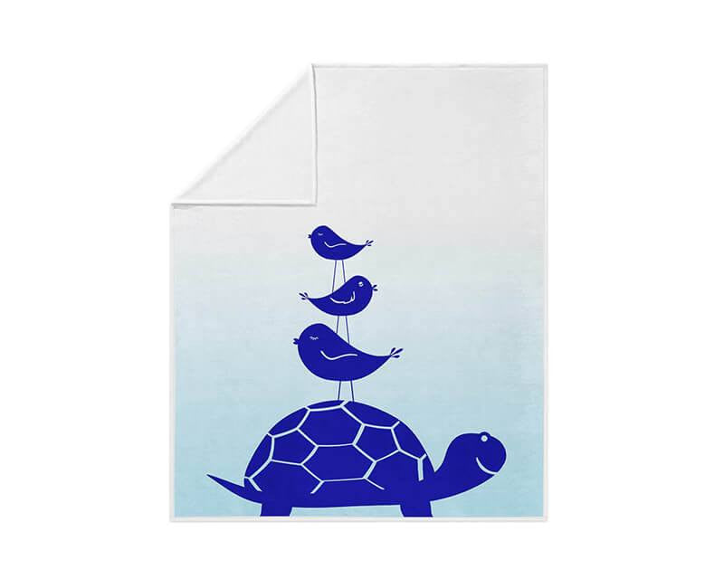 Turtle and Little Birdies Fleece Blanket - WallLillies