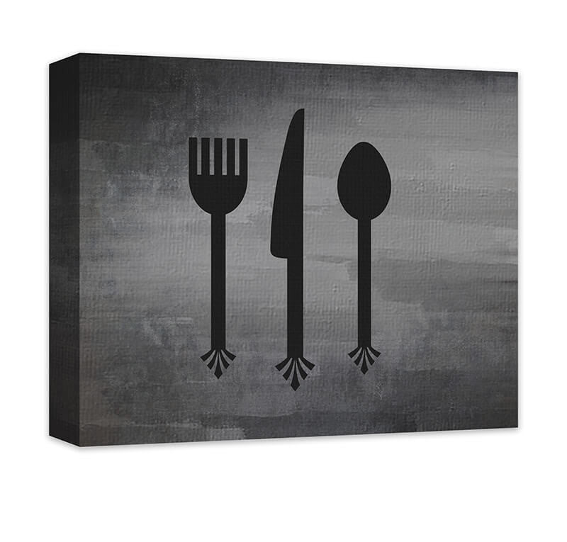 Fork Knife & Spoon Cutlery Canvas Wall Art - WallLillies