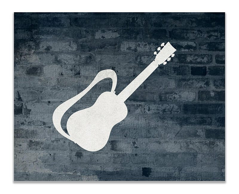 Guitar with Strap Print Wall Art - WallLillies