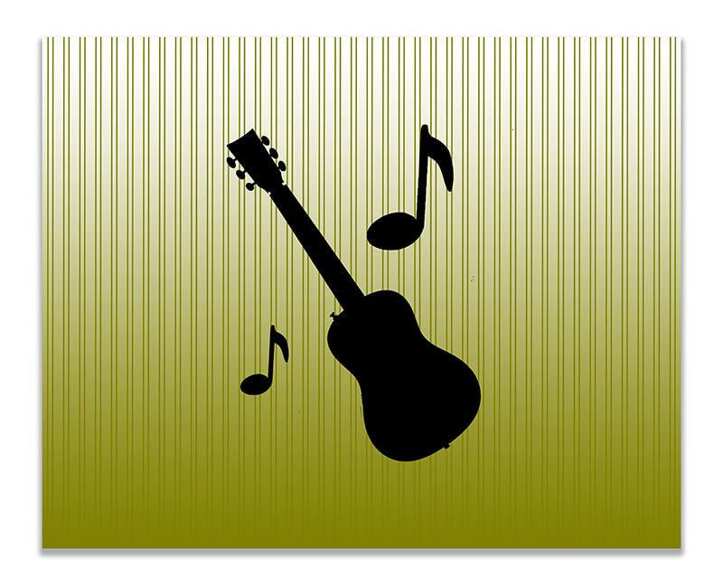 Guitar with Musical Notes Children's Print Wall Art - WallLillies
