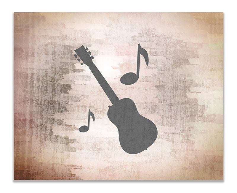 Guitar with Musical Notes Print Wall Art - WallLillies