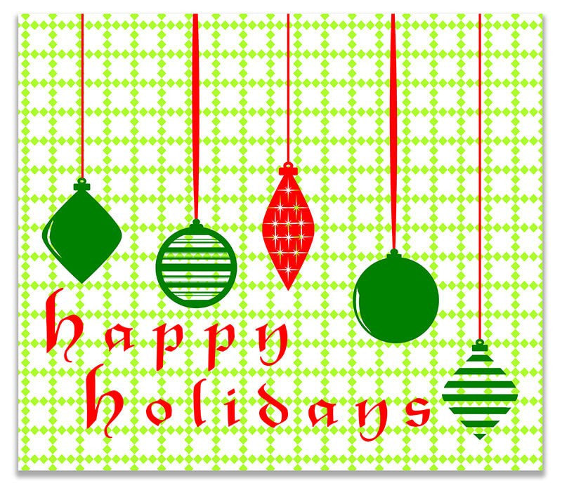 Happy Holidays with Hanging Ornaments Print Wall Art - WallLillies