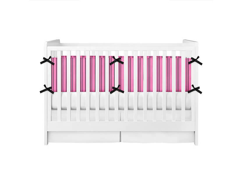 Hot Pink and Black Stripes Crib Bumper - WallLillies