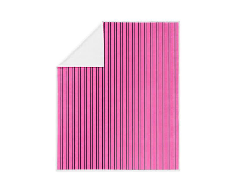 Hot Pink and Black Striped Fleece Blanket