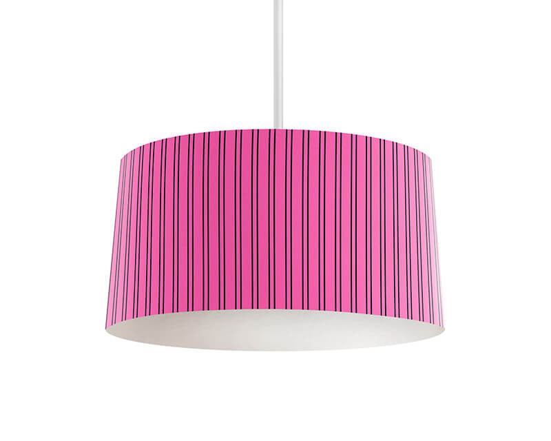 Hot Pink and Black Stripes Pendant Lamp - WallLillies