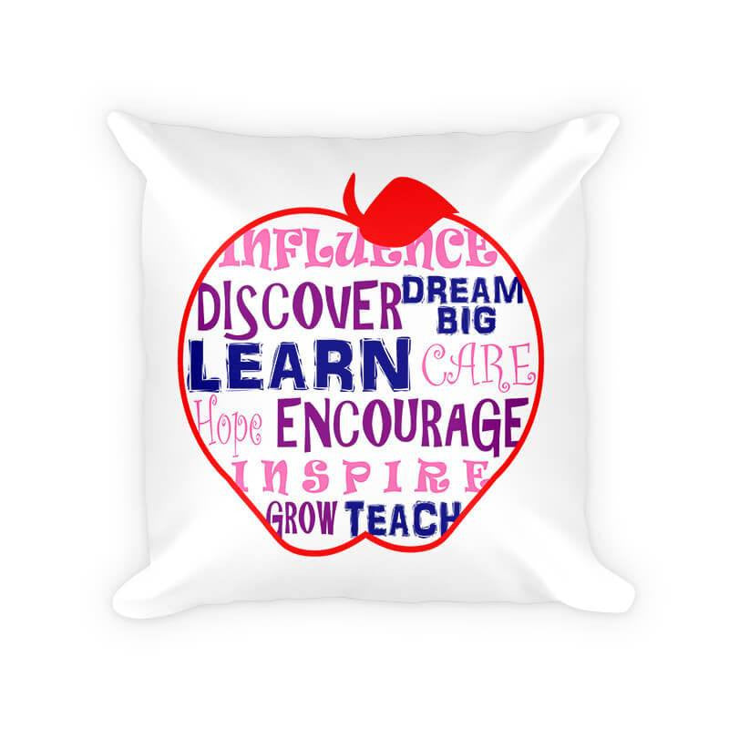 Teachers Influence Apple Word Collage Cotton Poly Pillow - WallLillies