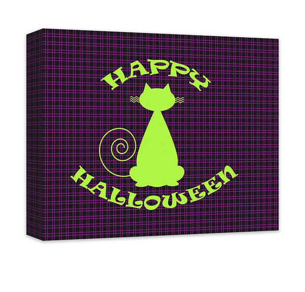 Happy Halloween with Cat Canvas Wall Art - WallLillies