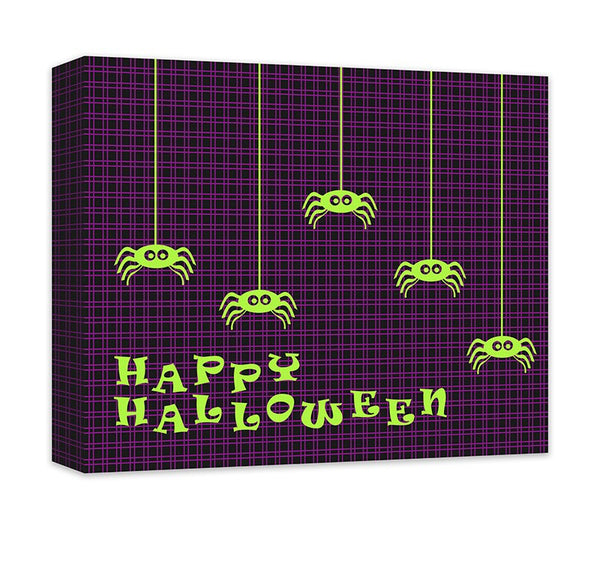 Happy Halloween with Tiny Spiders Canvas Wall Art - WallLillies