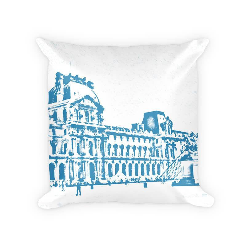 Louvre Museum Cotton Poly Throw Pillow - WallLillies