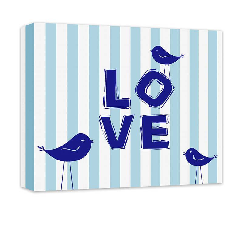 Love III with Little Birdies Children's Canvas Wall Art - WallLillies
