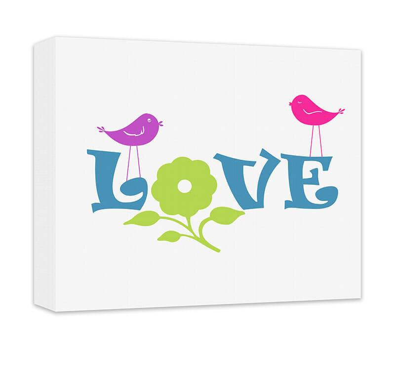 Love with Flower and Little Birdies Canvas Wall Art - WallLillies