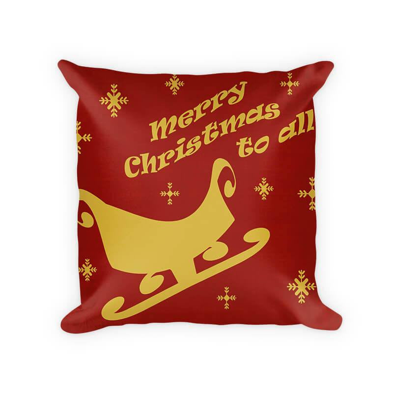 Merry Christmas to All Sleigh Woven Cotton Pillow