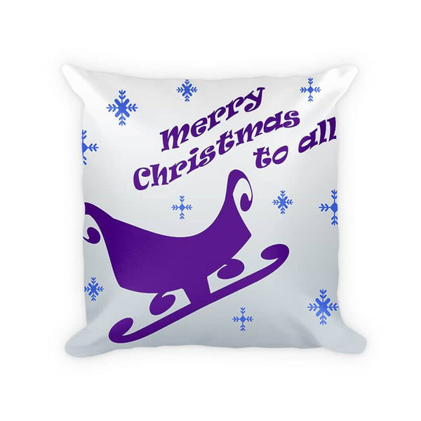 Merry Christmas to All Sleigh Cotton Poly Pillow - WallLillies