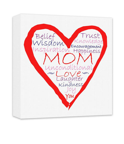 Mom Inspirational Word Art Heart Collage Canvas Wall Art