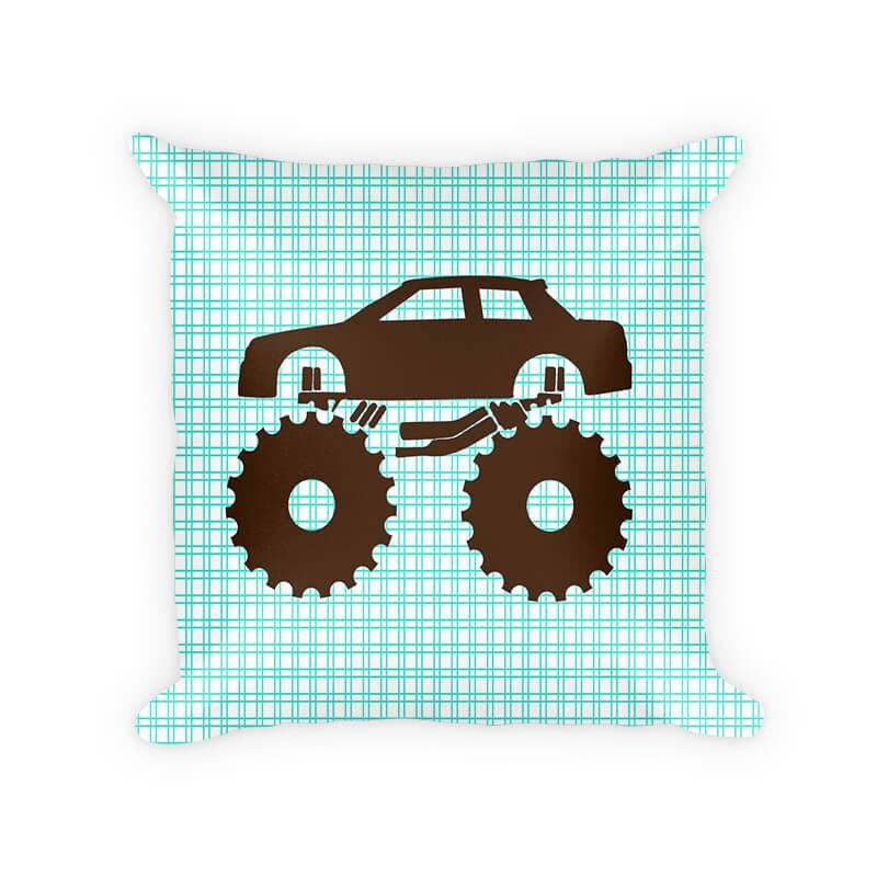 Monster Truck Children's Cotton Poly Pillow - WallLillies