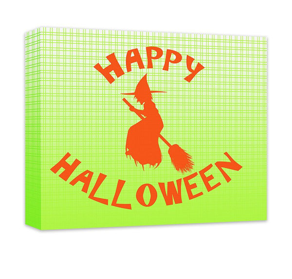 Happy Halloween with Witch Canvas Wall Art - WallLillies