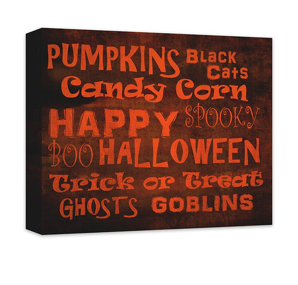 Happy Halloween Word Collage Canvas Wall Art - WallLillies