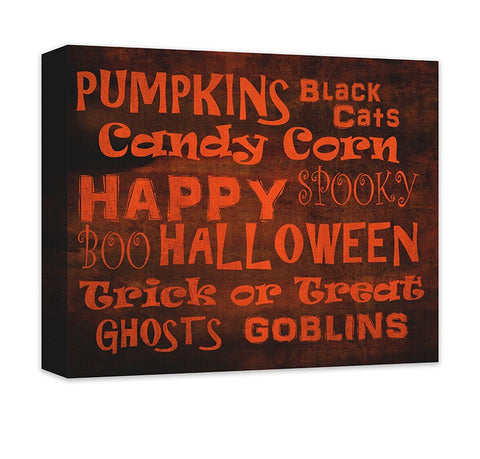 Happy Halloween Word Collage Canvas Wall Art