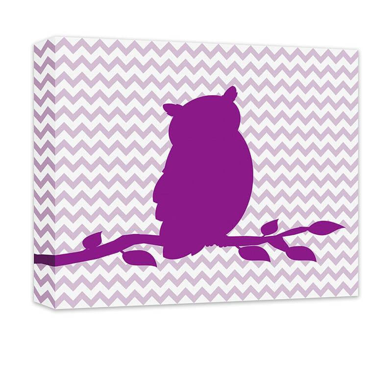 Owl on a Branch Children's Canvas Wall Art - WallLillies