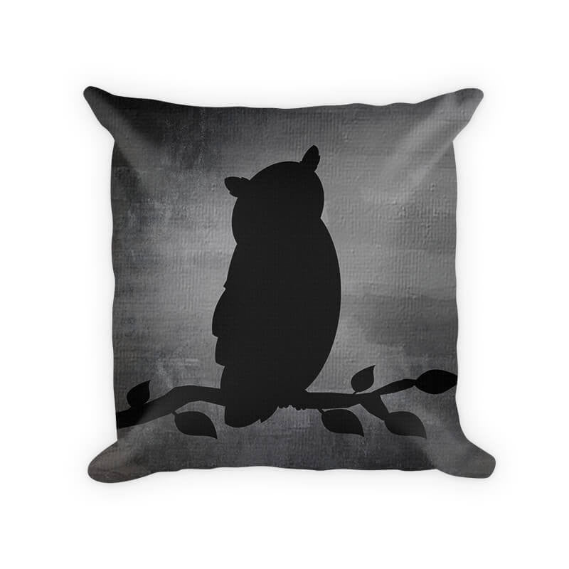 Owl on a Branch Cotton Poly Pillow - WallLillies