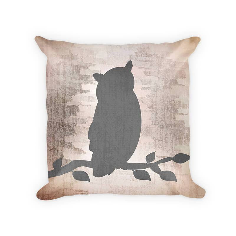 Owl on a Branch Woven Cotton Pillow