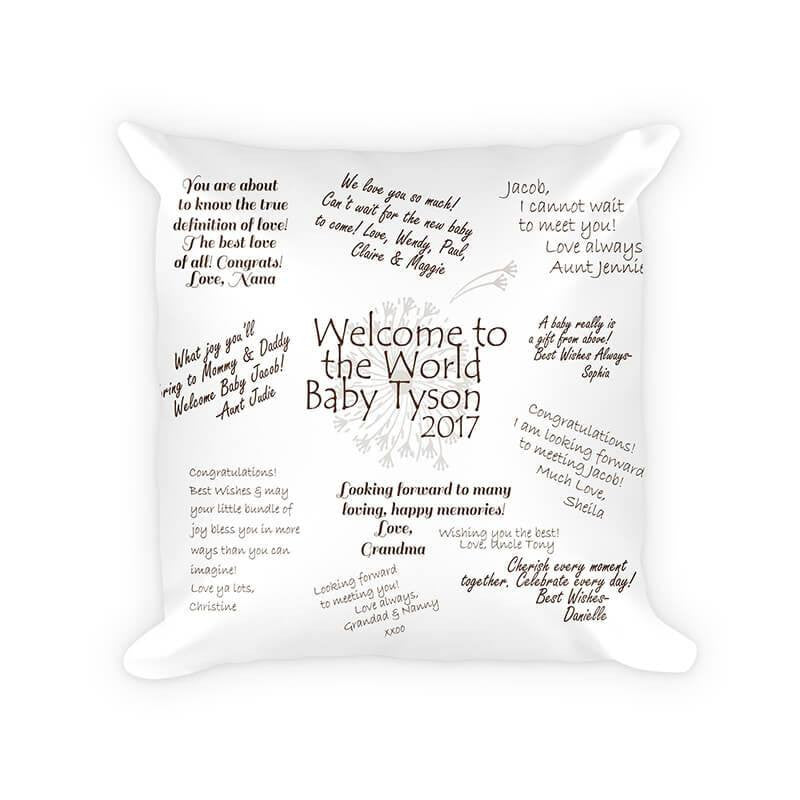 Welcome to the World Well Wishes Cotton/Poly Throw Pillow - WallLillies