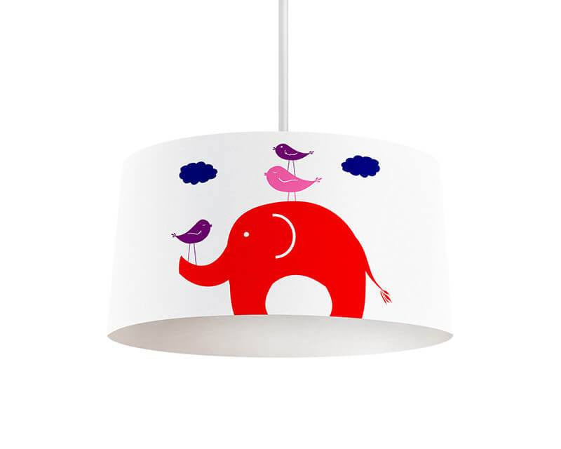 Elephant and Little Birdies Pendant Lamp - WallLillies