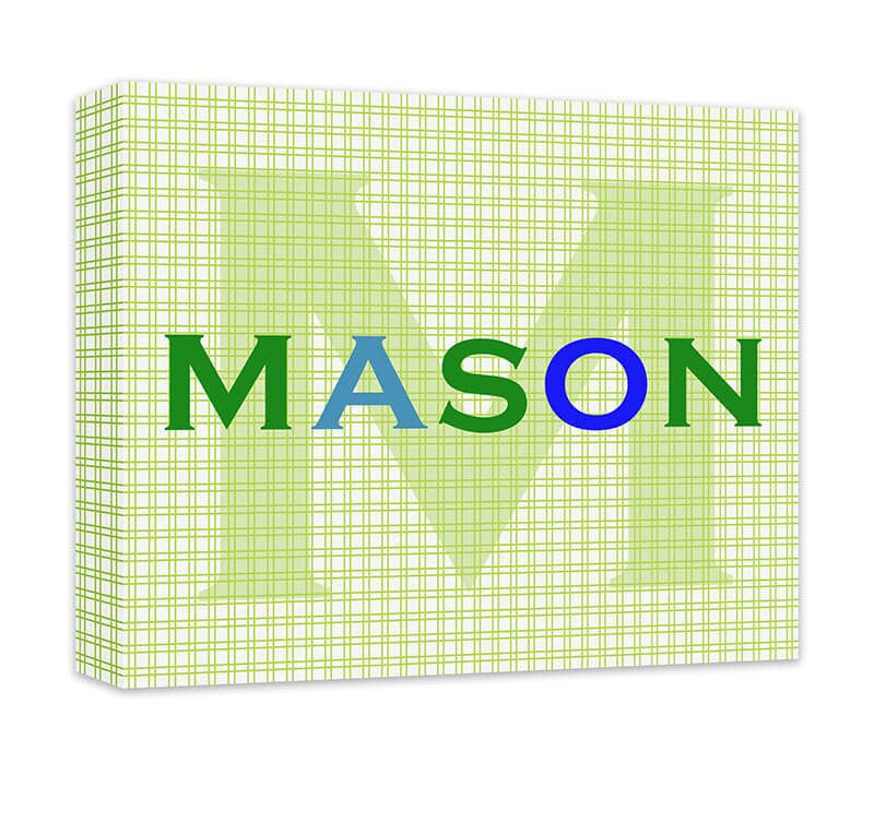 Personalized Boy\'s Name with Monogram Canvas Wall Art – WallLillies