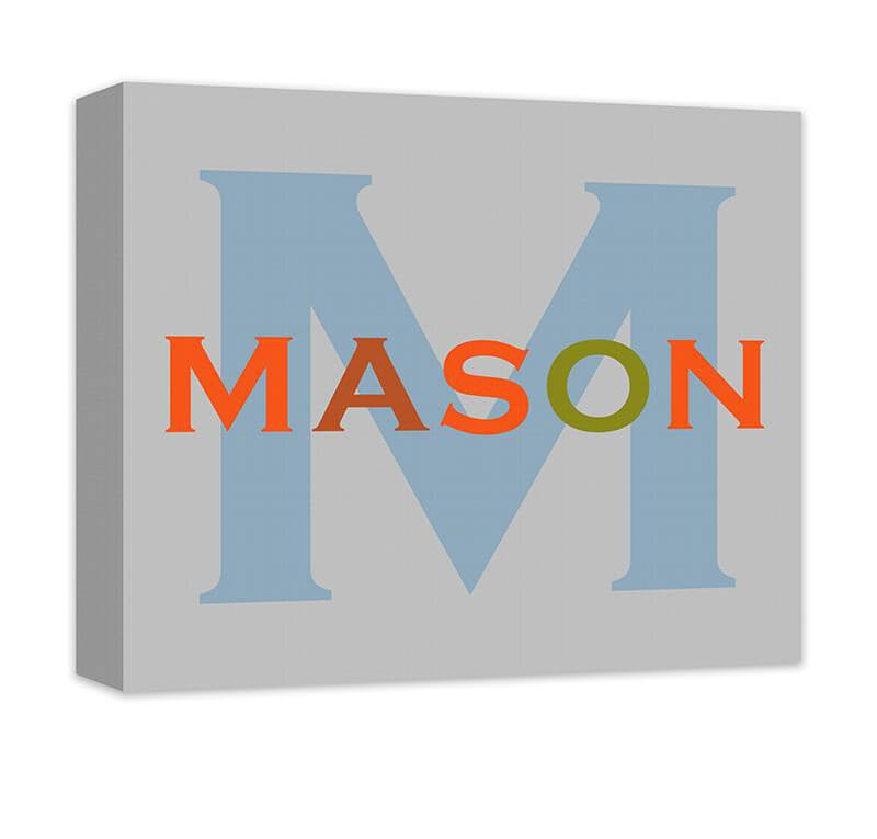 Personalized Boy's Name with Monogram Canvas Wall Art