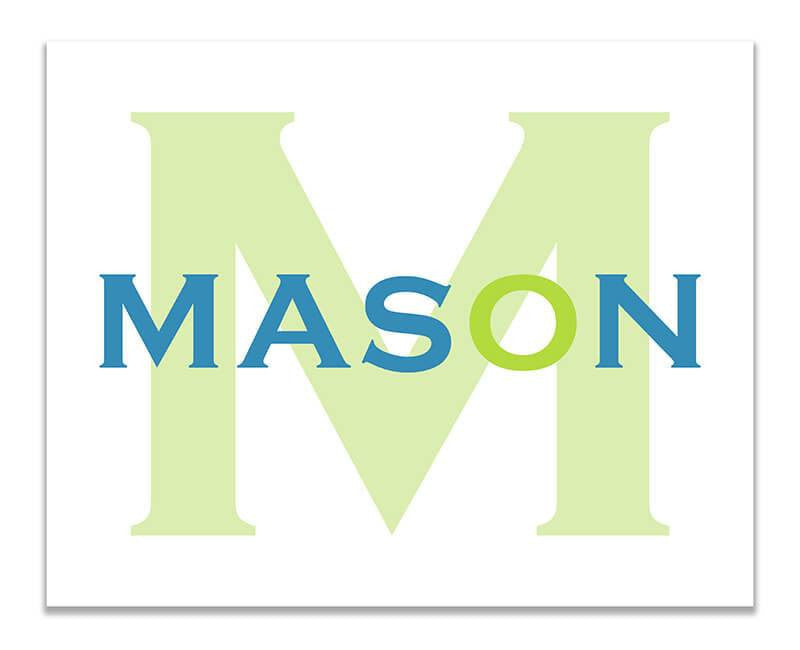 Personalized Boy\'s Name with Monogram Print Wall Art – WallLillies