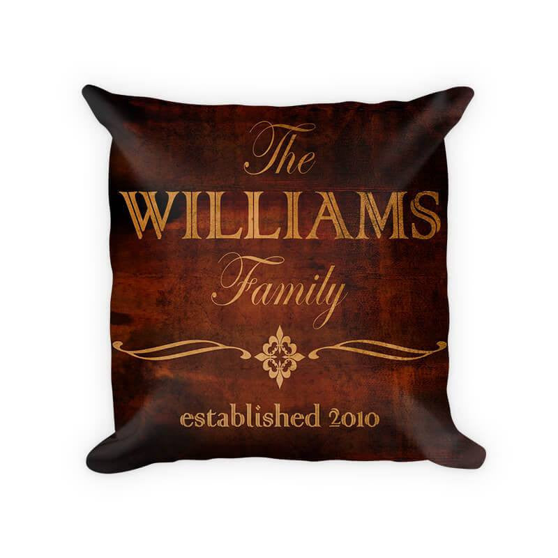 Personalized Family Established Woven Cotton Pillow with Quatre Fleur de Lis - WallLillies