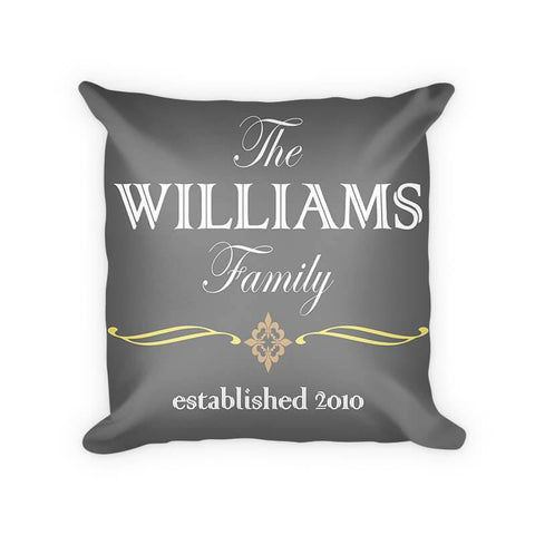 Personalized Family Established Cotton Poly Pillow with Quatre Fleur de Lis