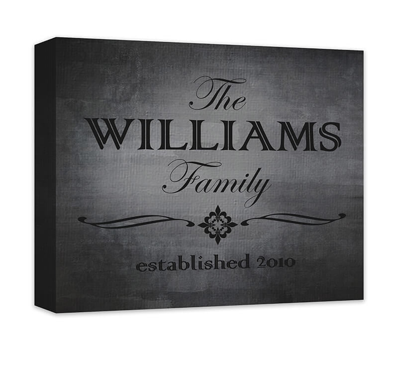 Personalized Family Established Canvas Wall Art with Quatre Fleur de Lis - WallLillies