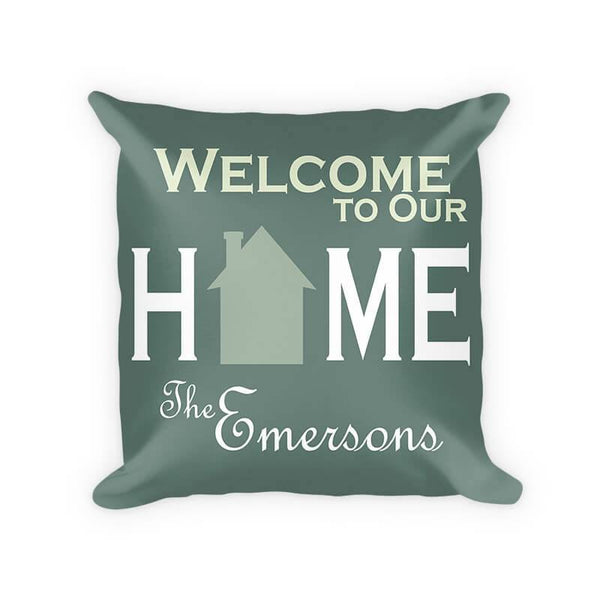Personalized Family Welcome to Our Home Cotton Poly Pillow - WallLillies