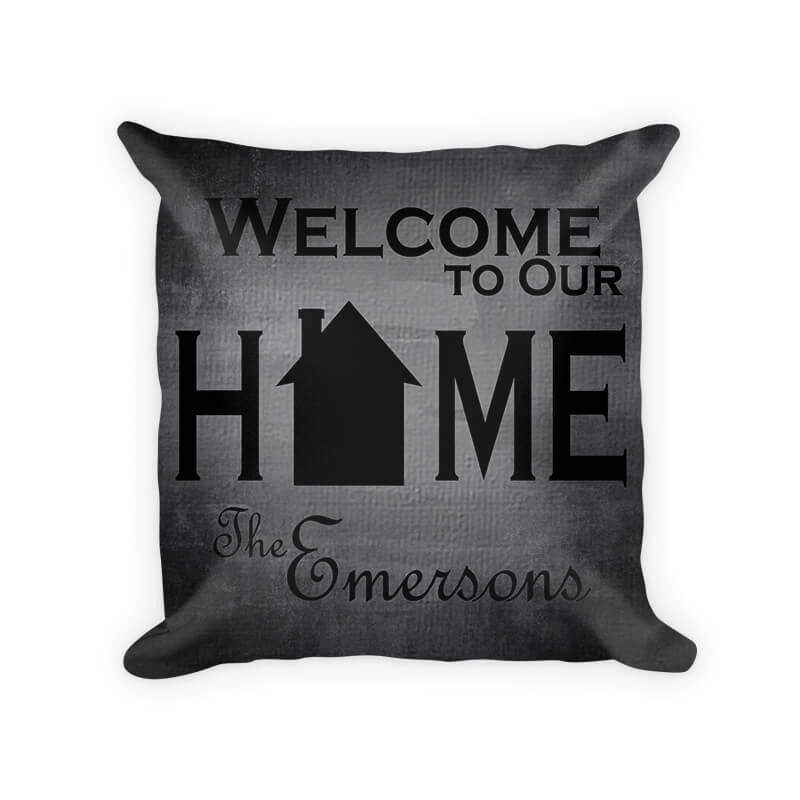 Personalized Family Welcome to Our Home Woven Cotton Pillow - WallLillies
