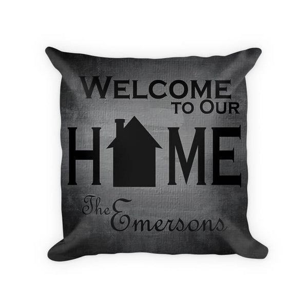 Personalized Family Welcome to Our Home Woven Cotton Pillow