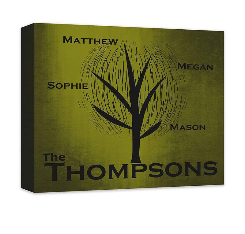 Personalized Family Tree Contemporary Canvas Wall Art – WallLillies