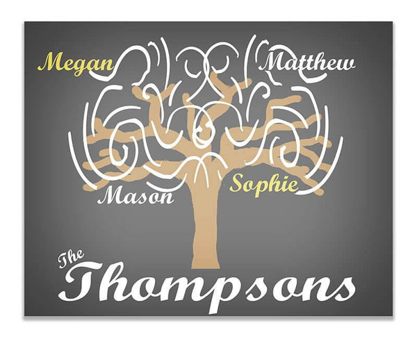 Personalized Family Tree Whimsical Print Wall Art