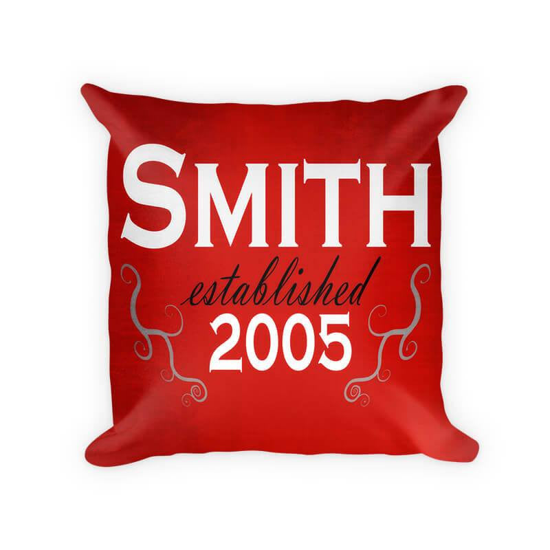 Personalized Family Established with Curling Branches Cotton Poly Pillow - WallLillies