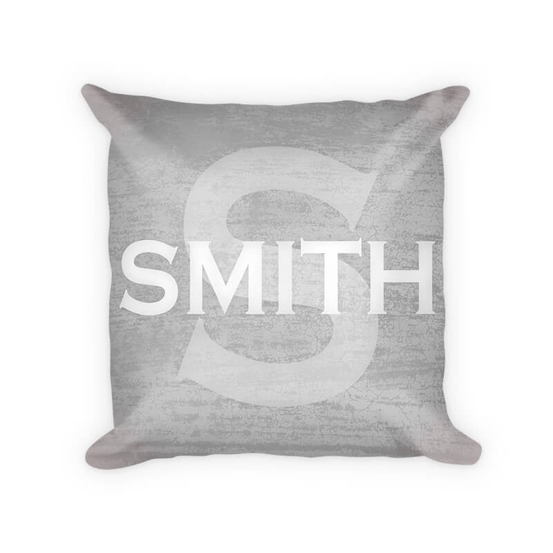 Personalized Family Name with Monogram Woven Cotton Pillow