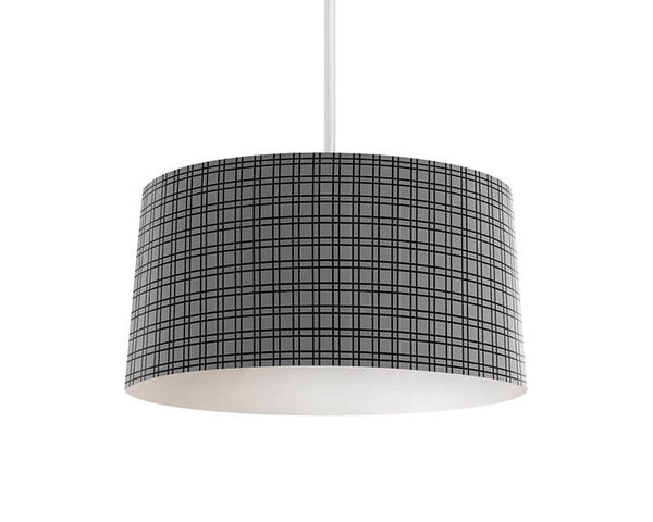 Black and Gray Plaid Pendant Lamp - WallLillies
