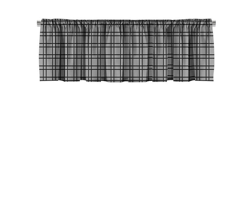 Black and Gray Plaid Valance
