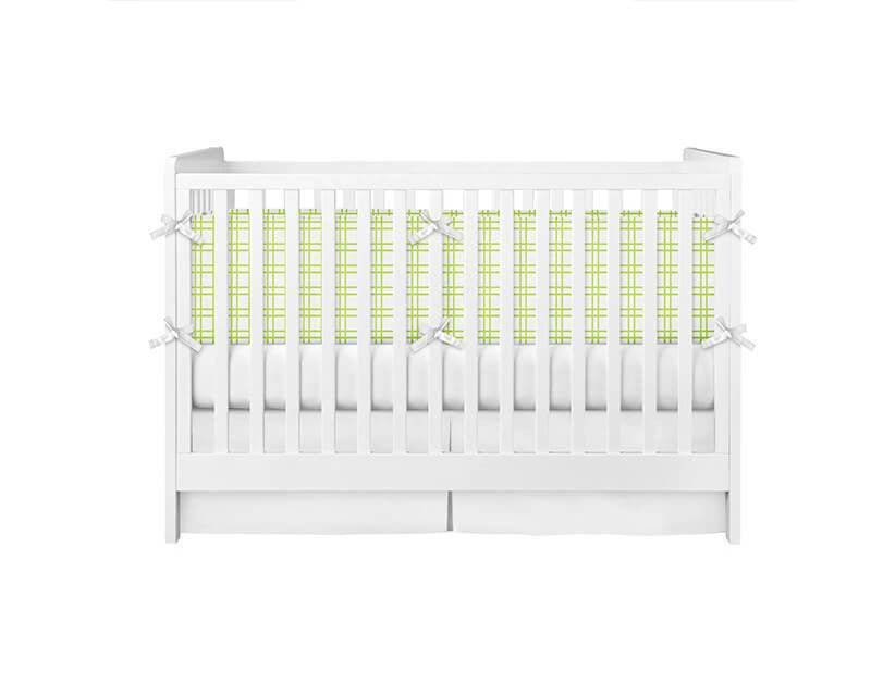 Lime Green Plaid Crib Bumper - WallLillies