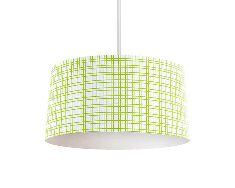Lime Green Plaid Pendant Lamp - WallLillies