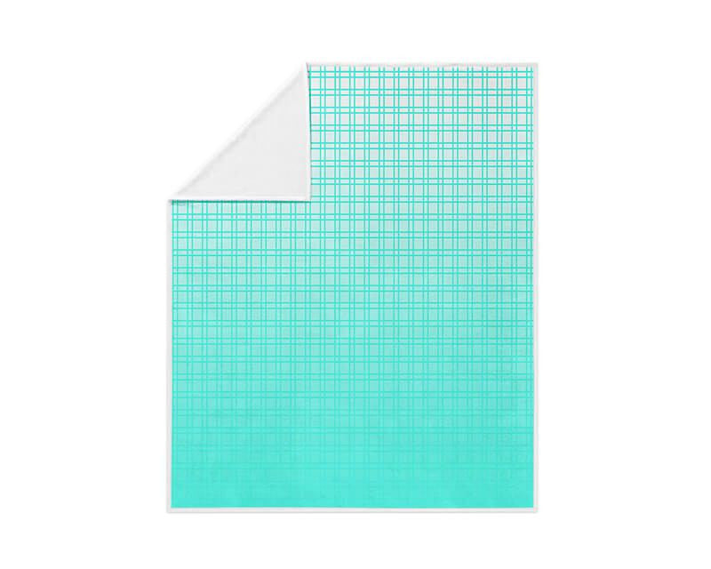 Turquoise Plaid Gradient Fleece Blanket - WallLillies