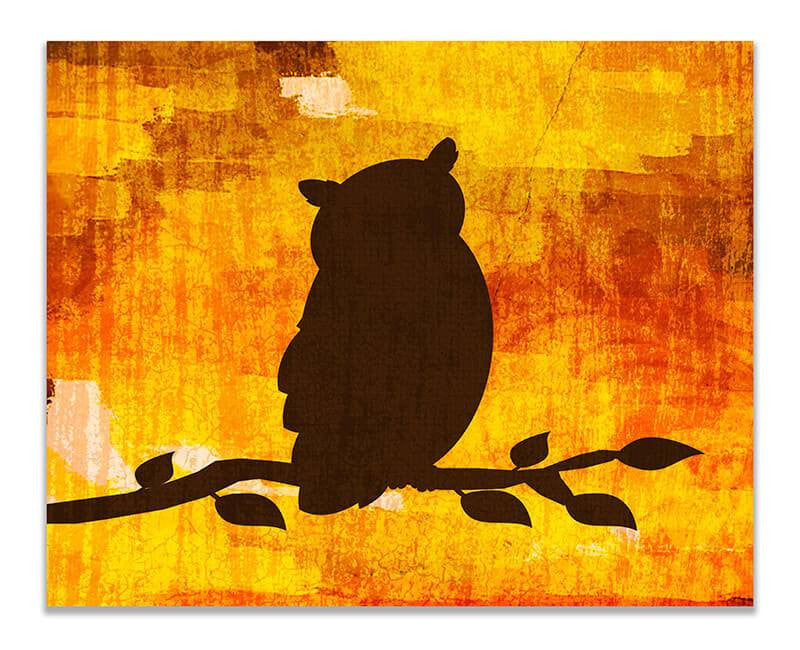 Owl on a Branch Print Wall Art - WallLillies
