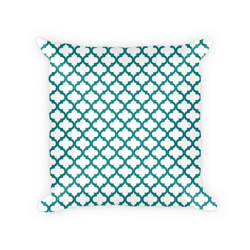 Quatrefoil Pattern Woven Cotton Throw Pillow