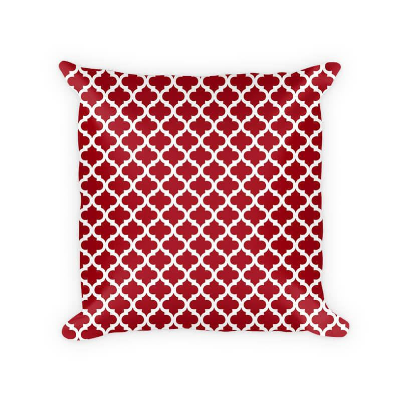 Quatrefoil White on Solid Color Cotton Poly Throw Pillow